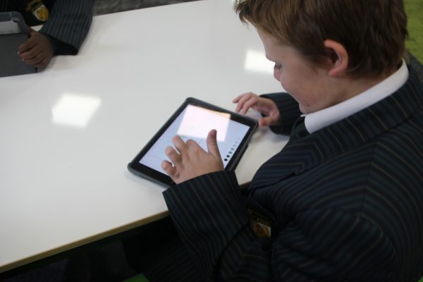 Student working on iPad