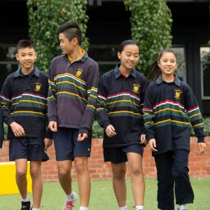 Students walking in play area