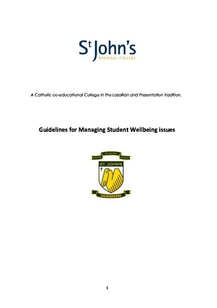 Student Wellbeing Management Guidelines