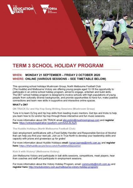 Online School Holiday Program Spring 2020